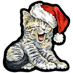 Stampendous - Christmas - Wood Mounted Stamps - Curio Tired Kitty