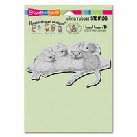 Stampendous - House Mouse Designs - Christmas - Cling Mounted Rubber Stamps - Santa Hat Birds