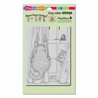 Stampendous - House Mouse Designs - Cling Mounted Rubber Stamps - Curtain Cats