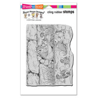 Stampendous - Halloween - Cling Mounted Rubber Stamps - Chipmunk Treats