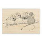 Stampendous - House Mouse Designs - Christmas - Wood Mounted Stamps - Santa Hat Birds