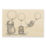 Stampendous - House Mouse Designs - Wood Mounted Stamps - Balloon Fun