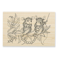 Stampendous - Christmas - House Mouse Designs - Wood Mounted Stamps - Stringing Berries