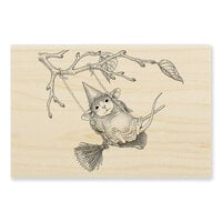 Stampendous - House Mouse Designs - Wood Mounted Stamps - Witch Swing