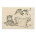 Stampendous - House Mouse Designs - Wood Mounted Stamps - Cupcake Happy