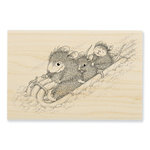 Stampendous - House Mouse Designs - Christmas - Wood Mounted Stamps - Peppermint Sledding