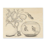 Stampendous - House Mouse Designs - Wood Mounted Stamps - Fish Bowl Dive