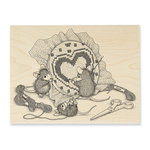 Stampendous - House Mouse Designs - Wood Mounted Stamps - Cross Stitch Heart
