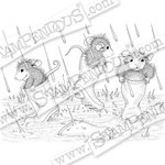 Stampendous - House Mouse Designs - Wood Mounted Stamps - Puddle Jumpers