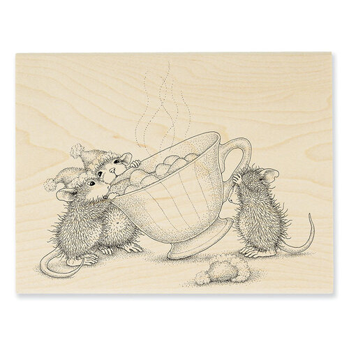 Stampendous - Christmas - House Mouse Designs - Wood Mounted Stamps - Sharing A Sip