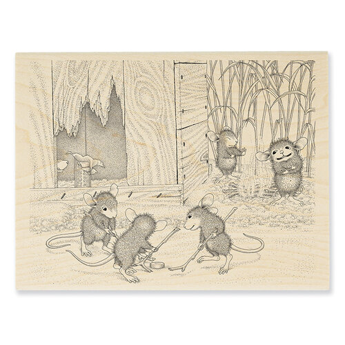 Stampendous - House Mouse Designs - Wood Mounted Stamps - Mice Hockey