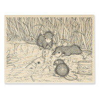 Stampendous - House Mouse Designs - Wood Mounted Stamps - Feeding Koi