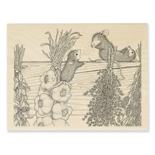 Stampendous - House Mouse Designs - Wood Mounted Stamps - Drying Herbs