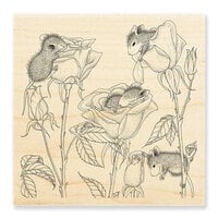 Stampendous - House Mouse Designs - Wood Mounted Stamps - Rose Play