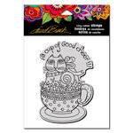 Stampendous - Cling Mounted Rubber Stamps - Feline Cup