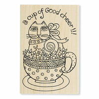 Stampendous - Wood Mounted Stamps - Feline Cup