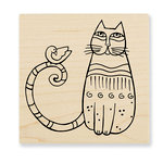 Stampendous - Wood Mounted Stamps - Cat and Feathered Friend