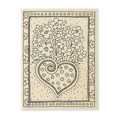 Stampendous - Wood Mounted Stamps - Heart Bouquet