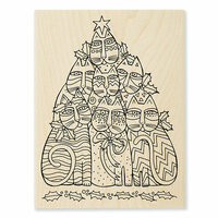 Stampendous - Christmas - Wood Mounted Stamps - Festive Felines