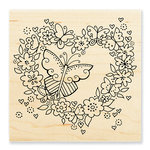Stampendous - Wood Mounted Stamps - Butterfly Heart