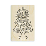 Stampendous - Wood Mounted Stamps - Cupcake Tiers