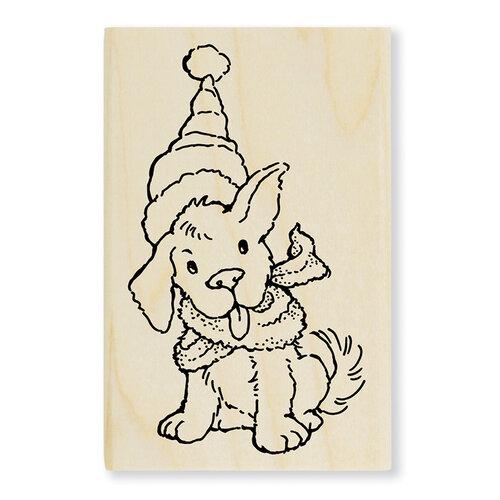 Stampendous - Christmas - Wood Mounted Stamps - Scarf Puppy