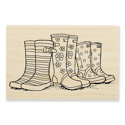 Stampendous - Wood Mounted Stamps - Puddle Boots