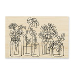 Stampendous - Wood Mounted Stamps - Flower Jars
