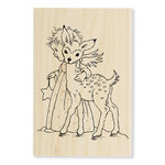 Stampendous - Christmas - Wood Mounted Stamps - Cherub Deer