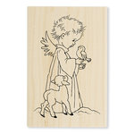 Stampendous - Christmas - Wood Mounted Stamps - Birdie Cherub