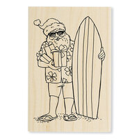 Stampendous - Christmas - Wood Mounted Stamps - Surfing Santa