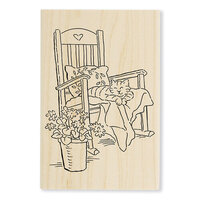 Stampendous - Wood Mounted Stamps - Cat In Rocker