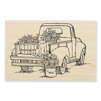 Stampendous - Wood Mounted Stamps - Pup On Truck