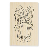 Stampendous - Christmas - Wood Mounted Stamps - Purrfect Angel
