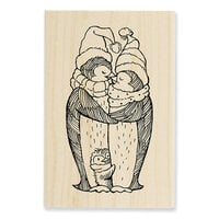 Stampendous - Christmas - Wood Mounted Stamps - Penguin Nestle