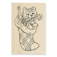 Stampendous - Christmas - Wood Mounted Stamps - Puppy Stocking