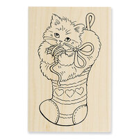 Stampendous - Christmas - Wood Mounted Stamps - Kitten Stocking