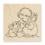 Stampendous - Christmas - Wood Mounted Stamps - Bunny Cherub