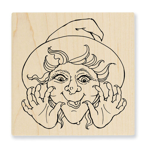 Stampendous - Halloween - Wood Mounted Stamps - Surprise Witch