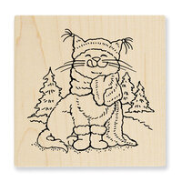Stampendous - Christmas - Wood Mounted Stamps - Scarf Kitty