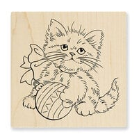 Stampendous - Christmas - Wood Mounted Stamps - Kitten Ornament