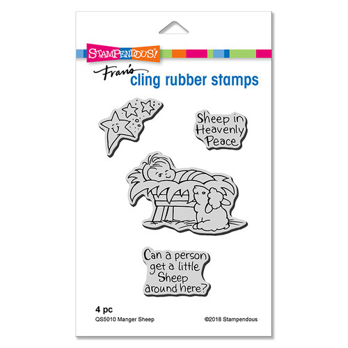 Stampendous - Christmas - Cling Mounted Rubber Stamps - Manger Sheep