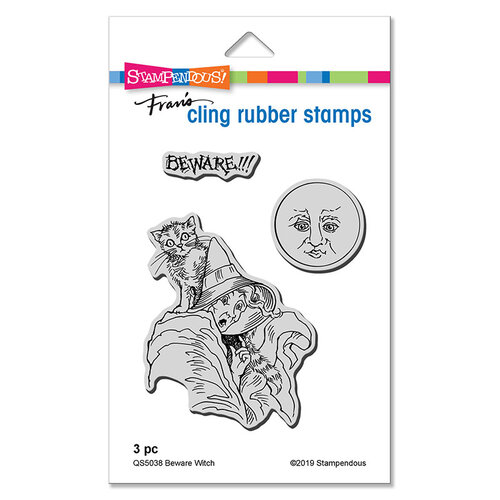 Stampendous - Halloween - Cling Mounted Rubber Stamps - Beware Witch