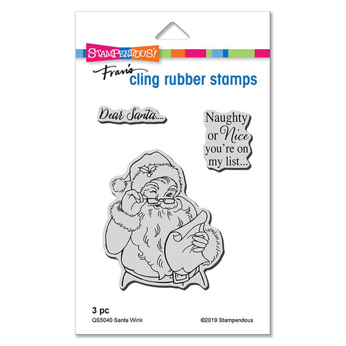 Stampendous - Christmas - Cling Mounted Rubber Stamps - Santa Wink