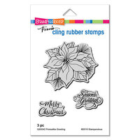 Stampendous - Christmas - Cling Mounted Rubber Stamps - Poinsettia Greetings