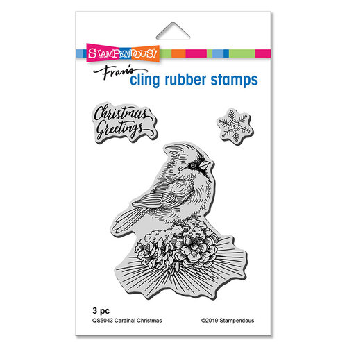 Stampendous - Cling Mounted Rubber Stamps - Cardinal Christmas