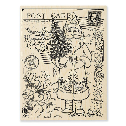 Stampendous - Christmas - Wood Mounted Stamps - Postcard Santa