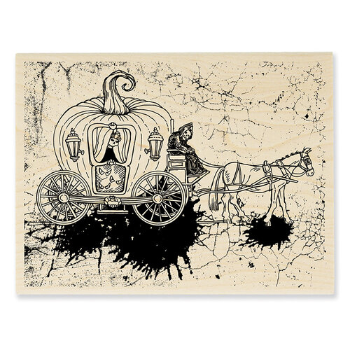 Stampendous - Halloween - Wood Mounted Stamps - Scary Carriage
