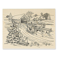 Stampendous - Christmas - Wood Mounted Stamps - One Horse Sleigh