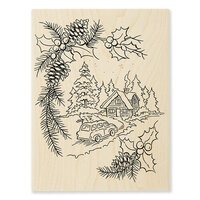Stampendous - Christmas - Wood Mounted Stamps - Pine Cabin